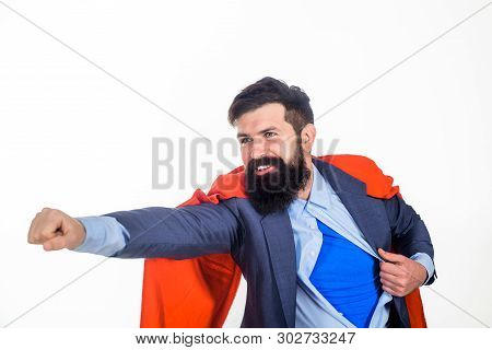 Superman Flying. Business. Enthusiasm. Super Businessmen. Superhero In Red Cape And Blue Shirt. Save