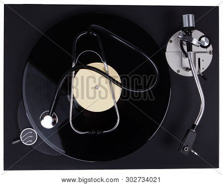 Music Therapy Concept - Alternative Medicine. Sound Therapy - Gramophone And Stetoscop.