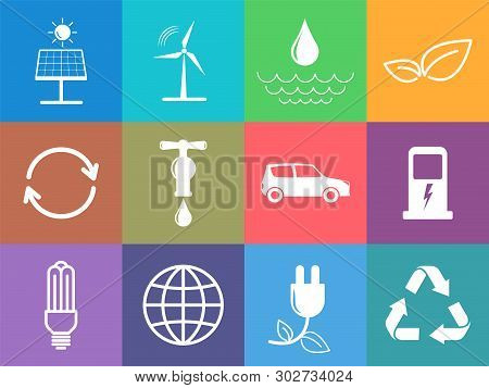 Flat Design Icons Set Of Sustainable Energy And Ecology Concept, Vector Illustration
