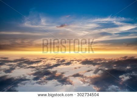 Beautiful Heavenly Landscape With The Sun In The Clouds . Paradise Heaven .  Light About The Sky .