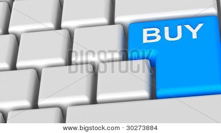 Buy now - blue key computer keyboard. Computer generated 3D photo rendering.