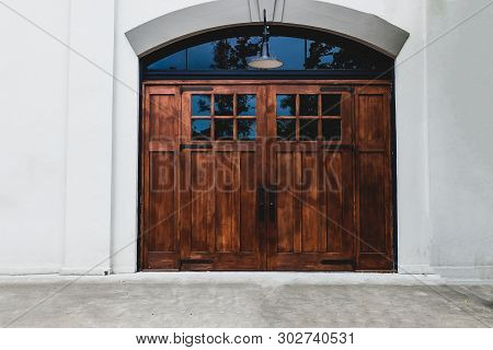 Old Building Wooden Double Doors With Glass Windows