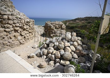 Apollonia National Park Stone Core For Ancient Throwing Catapult