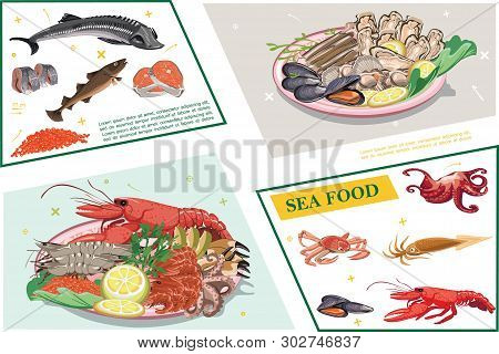 Flat Seafood Colorful Composition With Sturgeon Carp Herring Salmon Meat Caviar Octopus Squid Crab L