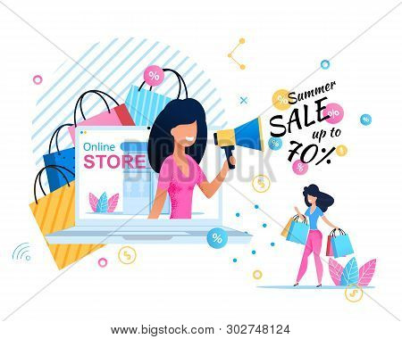 Online Store Banner Offering Great Summer Sales Up To 70 Percent. Pretty Shop Assistant Announces Se