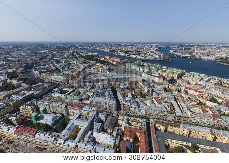 St. Petersburg From A Height. Palace District. Palace Square, Winter Palace (hermitage), Small Hermi