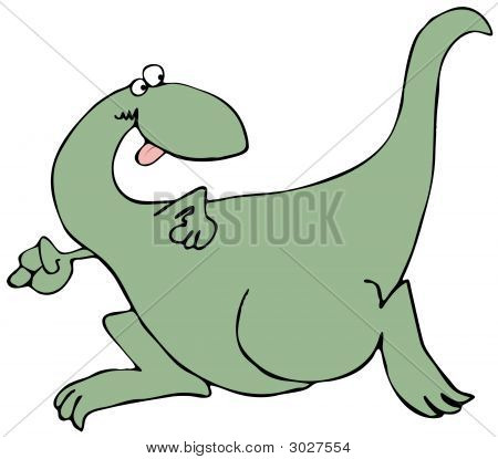 This illustration depicts a giant dinosaur running. poster