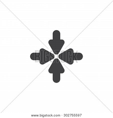 Resize, Minimize Arrows Vector Icon. Filled Flat Sign For Mobile Concept And Web Design. Four Arrows