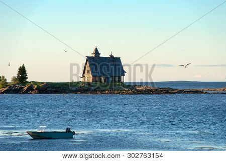 "Kem, Republic Of Karelia, Russia - June 24, 2018: Church Decoration For The Film ""the Island"" In The"