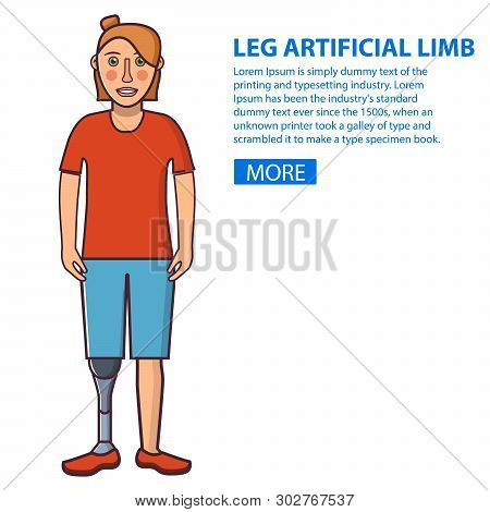 Girl With A Leg Artificial Limb.young Person Sport Prostheses. Cartoon Character Flat Line Art Vecto