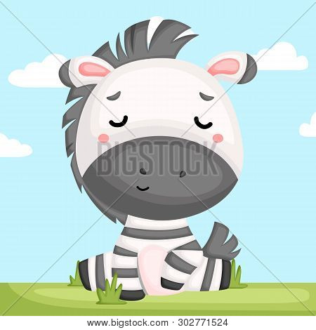 A Vector Of A Cute And Adorable Zebra Sitting In Grass