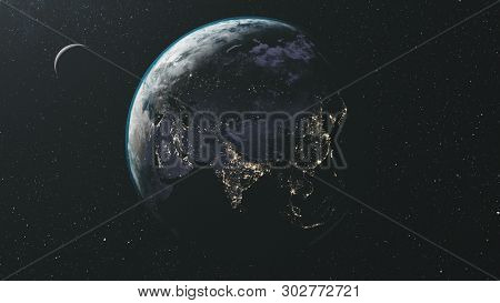 Rotate Earth Moon Orbit Star Milky Way Background. Twilight Nebula Galaxy Spin Planet Celestial Universe Map. Satellite Space Travel Concept 3D Animation