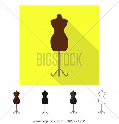 Vector design of mannequin and tailor sign. Set of mannequin and manikin stock symbol for web. poster