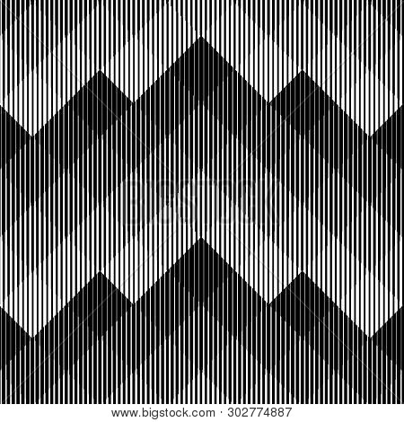 Line Halftone Pattern With Gradient Effect. Gorizontal Lines. Template For Backgrounds And Stylized