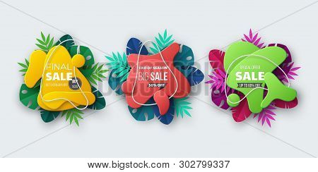 Summer Sale Banner With Tropical Palm Leaves. Liquid Abstract Shapes In 3d Paper Cut Style. Exotic F