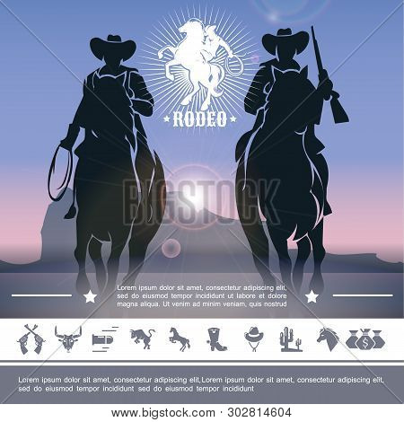 Vintage Cowboy Rodeo Concept With Jockeys Riding Horses And Wild West Icons Vector Illustration