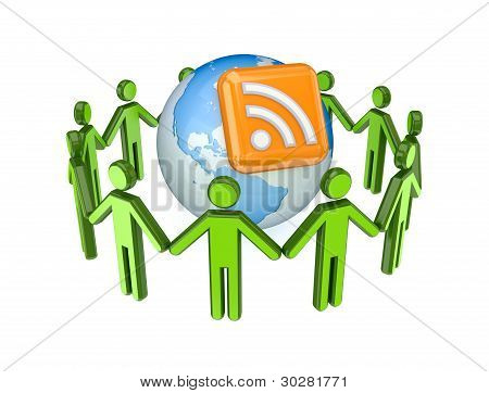 3d small people around globe and RSS symbol.