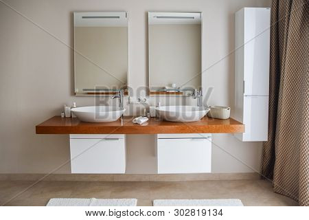 Contemporary Bathroom Interior, Great Design. Modern Bathroom Interior. Nobody Inside. Wood Texture.