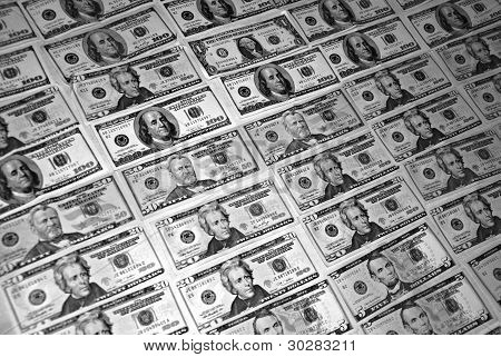 Black And White Background With American Dollar Bills