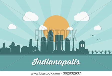 Indianapolis Skyline, Indiana - Vector Illustration - Vector