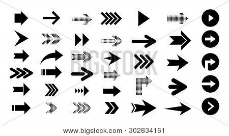 Arrow Right  Icons Isolated On White Background, Set Of Black Vector Arrows. Arrow Icon. Arrow Vecto