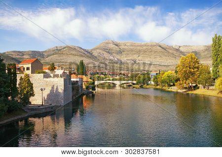 View Of Trebisnjica River And Old Town Of Trebinje. Bosnia And Herzegovina, Republika Srpska