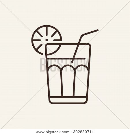 Long Island Line Icon. Cocktail, Straw, Lime, Ice Tea. Bar Concept. Vector Illustration Can Be Used