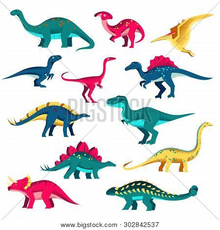Cartoon Dinosaur Characters Set. Vector Colorful Flat Illustration. Cute Dino Collection, Kids Desig