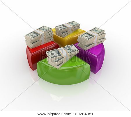 Money packs on a colorful graph.