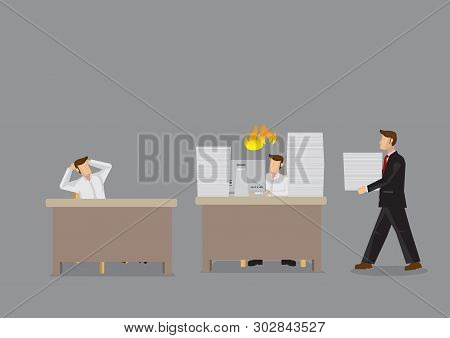 Cartoon Man Overloaded With Work And Manager Is Bringing Him More To Do While Coworker Sits Idling.