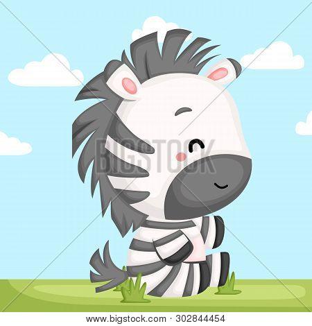 A Vector Of A Cute Zebra Sitting In A Grass