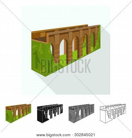 Vector Design Of Bridge And Relocation Symbol. Set Of Bridge And Column Stock Symbol For Web.