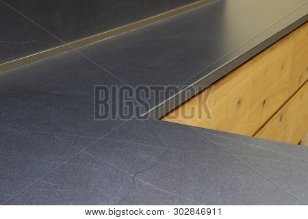 Blue Stone Countertop On The Kitchen Table. Smooth Surface Of The Kitchen Table.