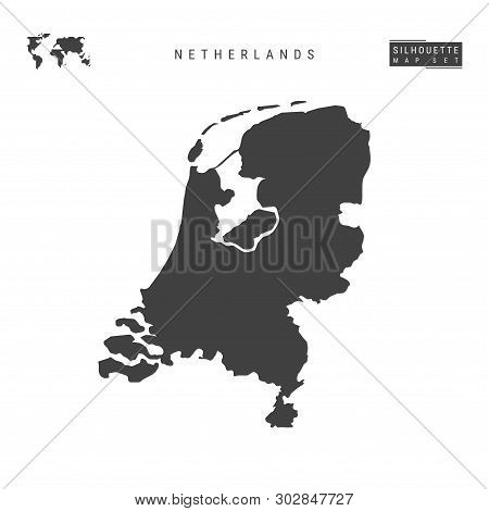 Netherlands Blank Vector Map Isolated On White Background. High-detailed Black Silhouette Map Of Hol