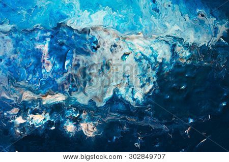 Abstract White Blue Paint Background. Color Gradient Texture. Liquid Mix Fluid Blend. Acrylic Marble
