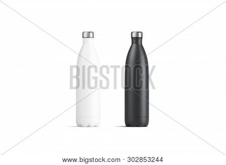 Blank White And Black Thermo Sport Bottles Mock Up, 3d Rendering. Empty Tourism Metal Botle With Cli