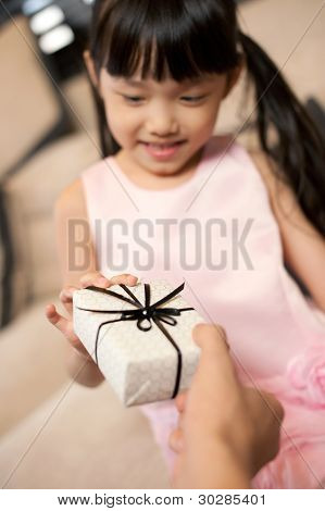 Asian Girl Receiving Gift