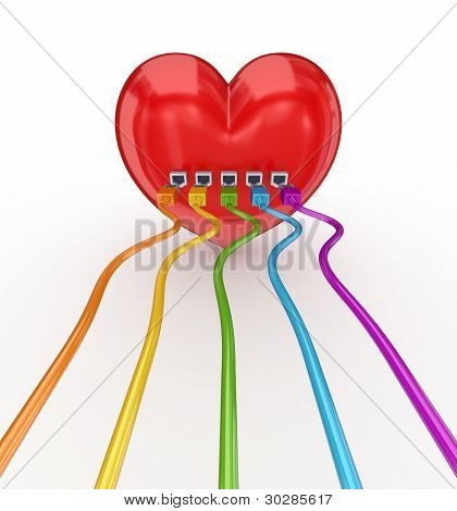 Colorful patch cords connected to a red heart.