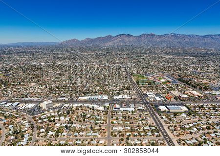 Aerial View Looking North From Above The Intersection Of Broadway & Swan In Tucson, Arizona With The