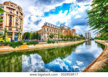 Antique Building View In Old Town Bucharest City - Capital Of Romania And Dambrovita River. Buchares