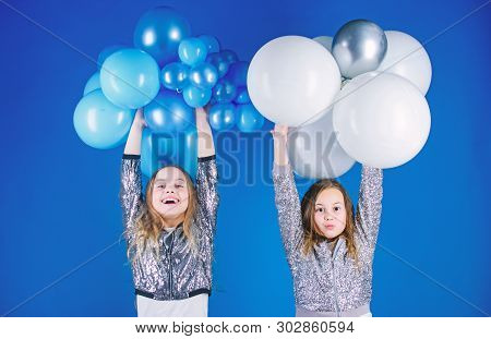 Happiness And Cheerful Moments. Carefree Childhood. Start This Party. Sisters Organize Home Party. H