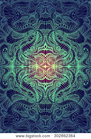 Psychedelic Trippy Colorful Fractal Mandala, Gradient Yellow, Turquoise Bright Color Outline, On Dar
