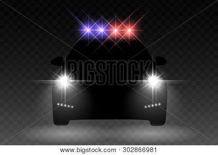 Car Light Flash Effect With With Light Flasher Atop Of A Police Car On Transparent Background. Vecto
