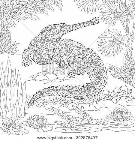 Coloring Page. Coloring Book. Colouring Picture With Crocodile. Antistress Freehand Sketch Drawing W