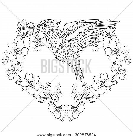 Coloring Page. Coloring Book. Colouring Picture With Hummingbird And Flowers In Heart Shape. Antistr