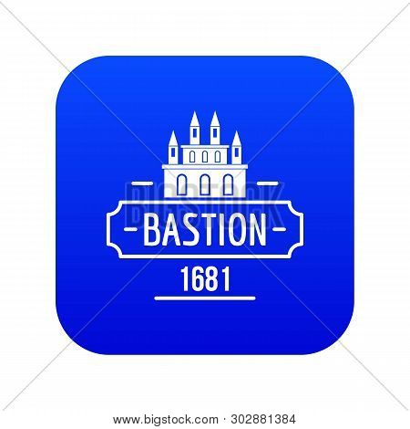 Royal Bastion Icon Blue Vector Isolated On White Background