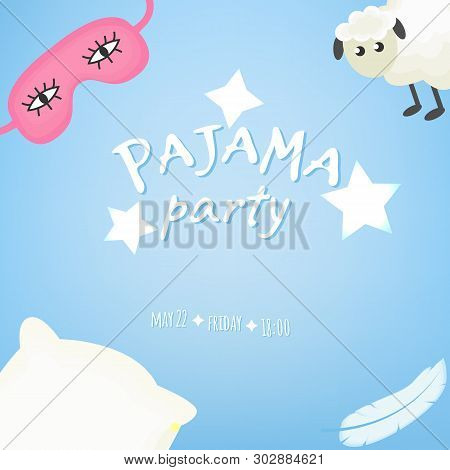 Sleepover, Pajama Party Invitation, Template Inviting For Slumber Pyjama Overnight Card.