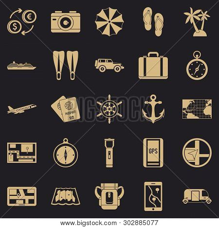 Vacation Abroad Icons Set. Simple Set Of 25 Vacation Abroad Vector Icons For Web For Any Design