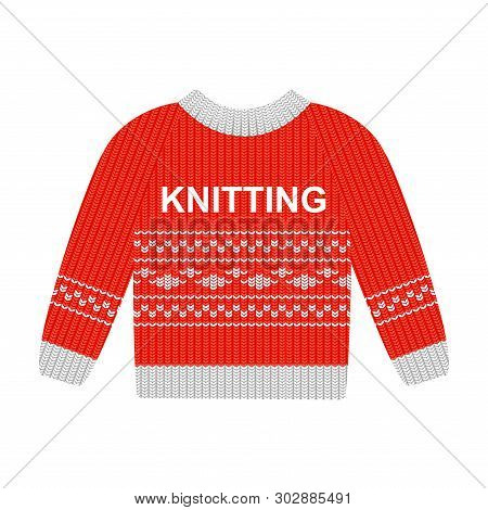 Vector Illustration Red Sweater With White Pattern Isolated On The White Background. Cotton Sweaters