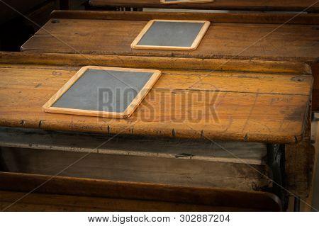 Horizontal School Desk Tops With Slates - Vintage